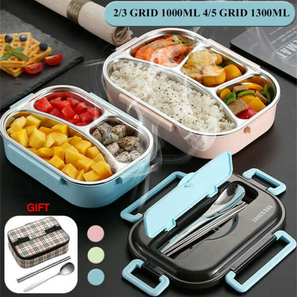 10001200ML Stainless Steel Thermal Insulated Lunch Box Bento Food Container