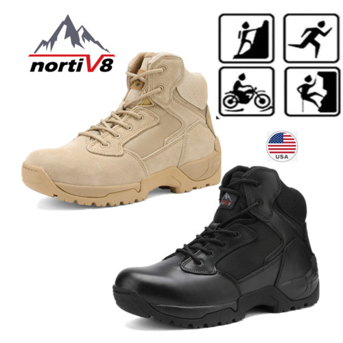 NORTIV 8 Men#x27;s Zip Military Tactical Boots Motorcycle Combat Ankle Hiking Boots