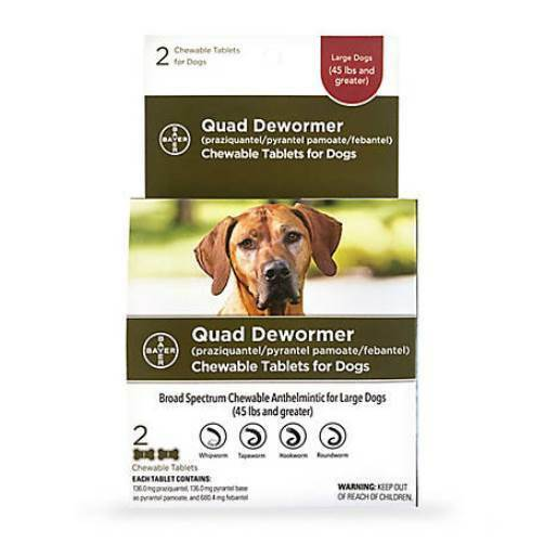 Bayer Quad Dewormer for Large Dogs Over 45 lbs 2 Chewable Tablets $18.19