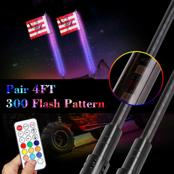 2x 4ft RGB CREE LED Light Whip Antenna Flag&Remote for ATV UTV Polaris RZR Buggy