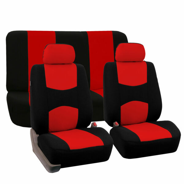 Complete Full Set Front Rear Car Seat Cover Red Black For Car Truck SUV $24.99