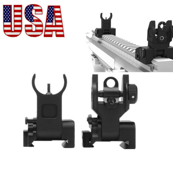 US Metal Fold BUIS Frontamp;Rear Flip Up Rapid Transtion Picatinny Iron Sight Set