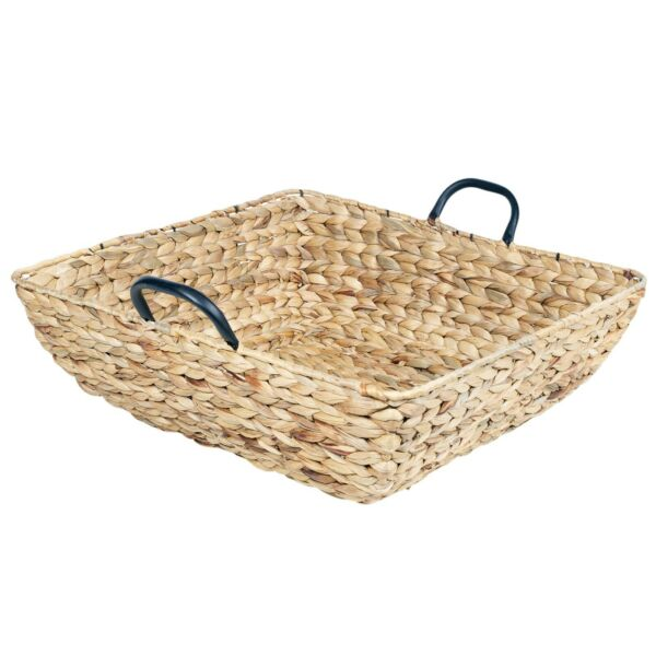 Large 50cm Woven Fire Logs Storage Basket With Metal Handles Fireplace Hamper