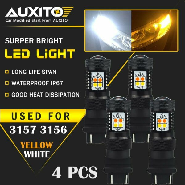 4X 3157 4057 LED Switchback Dual Color White Yellow amber Turn Signal Light 16K