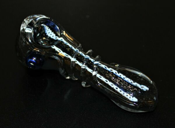 4 1 2quot; COMET#x27;S TAIL Black Tobacco Pipe Glass Smoking Pipe THICK GLASS pipes