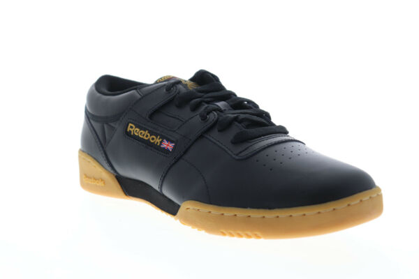 Reebok Workout Low 67107 Mens Black Leather Lace Up Low Top Sneakers Shoes