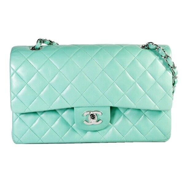Auth CHANEL Matelasse Chain shoulder bag Light Blue Lambskin leather Used 326209