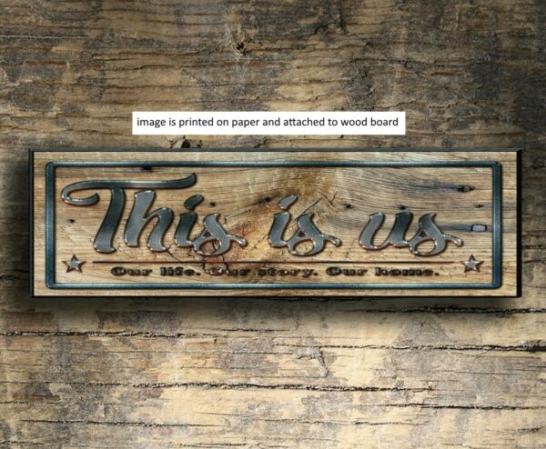 Rustic Wood Sign THIS IS US Life Family Welcome Farmhouse Decor  PRINT mets