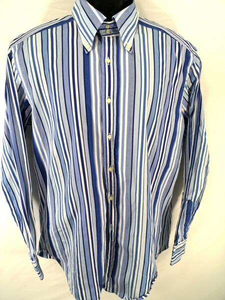 Etro Mens Shirt Size 42 Long Sleeve Stripe Button Front Cotton Casual Italy Made $42.47