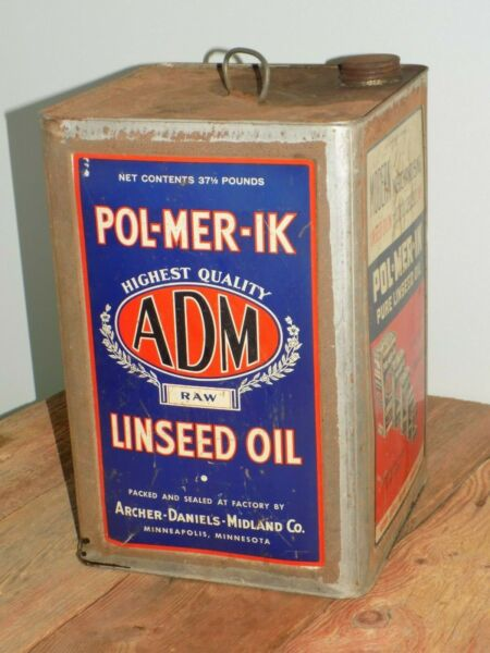 Vtg POL-MER-iK ADM RaW Linseed OiL 5 gaLLon TiN Can EMPTY 37 12 Lb MinnesoTa
