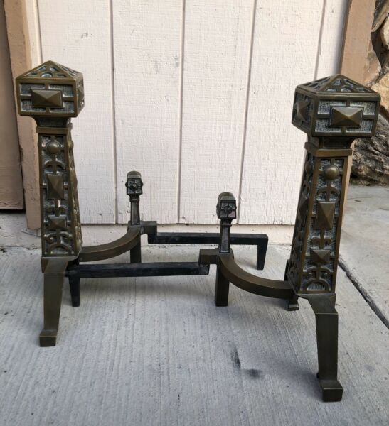 19th Century Antique Vintage Fireplace Bronze & Iron Andirons