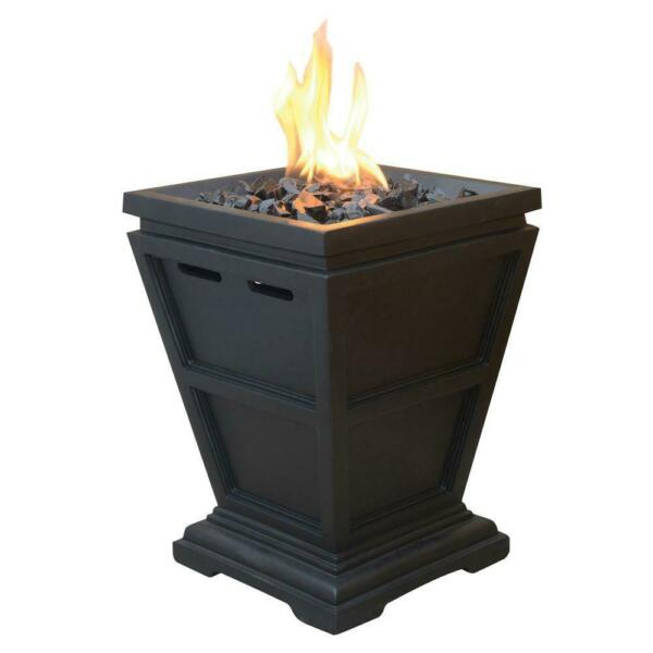 Outdoor Portable Square Fire Pit Bowl 1lb Propane Gas Small Fireplace 15quot; Column