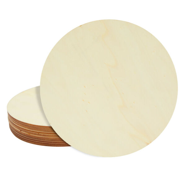 10 Pack Unfinished Wood Circle Round Wooden Cutout for DIY Craft Supplies