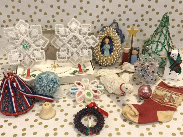 Large Lot Vintage Christmas Ornaments Beaded Diorama Spun Angel Hair + More!