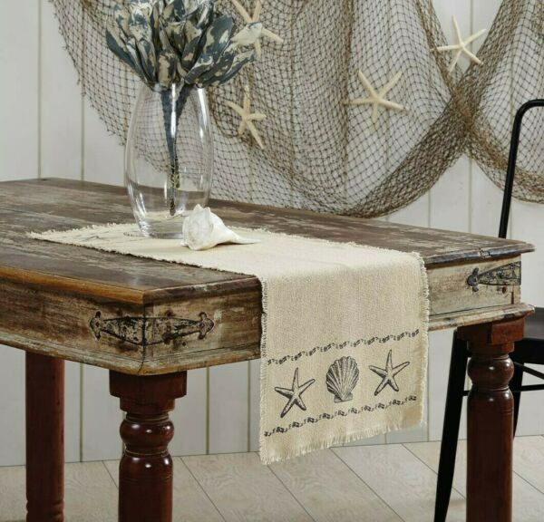 SANDY CREAM BURLAP Table Runner 48quot; Fringed Starfish Seashells Beach Coastal