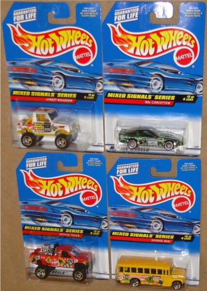 MIXED SIGNALS SERIES 1998 Hot Wheels COMPLETE 4 CAR SET 1:64 New on Cards $9.87