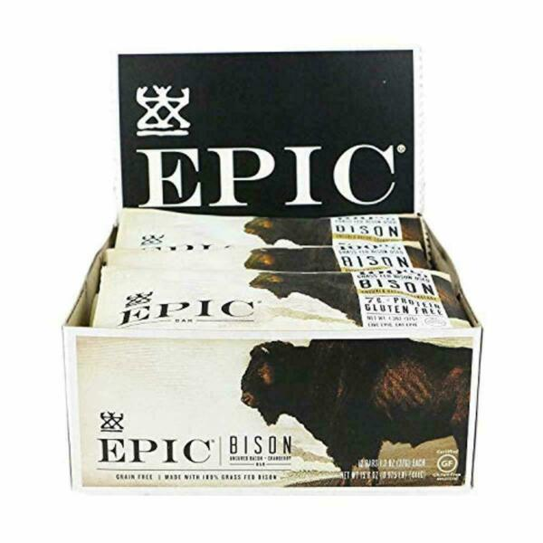 Epic All Natural Meat Bar Bison Uncured Bacon and Cranberry 12CT     EXP 320