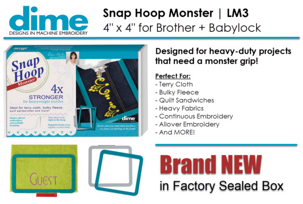 DIME LM3 4quot; x 4quot; Embroidery Snap Hoop Monster for Brother Babylock SH00A3M $139.99