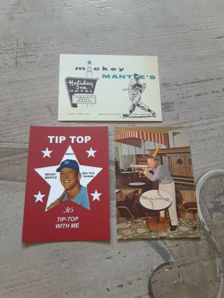 Rare Mickey Mantle Tip Top Bread & Holiday Inn Promotional Give Away Cards