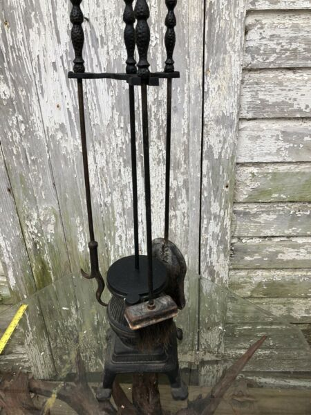Cast Iron Pot Belly Stove Fireplace Tool Set Holder Stand