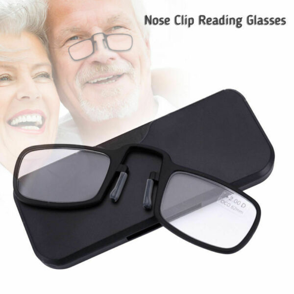 Flexible Portable Wallet Mini Reading Glasses Nose Clip with Case (+2.0  +1.50)