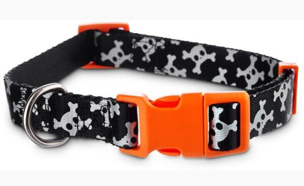 BOOTIQUE Black and White REFLECTIVE SKULL Collar Puppy Dog small $13.50