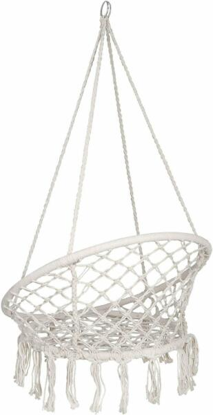 Beige Hanging Cotton Rope Macrame Hammock Chair Swing Outdoor Home Garden $39.99