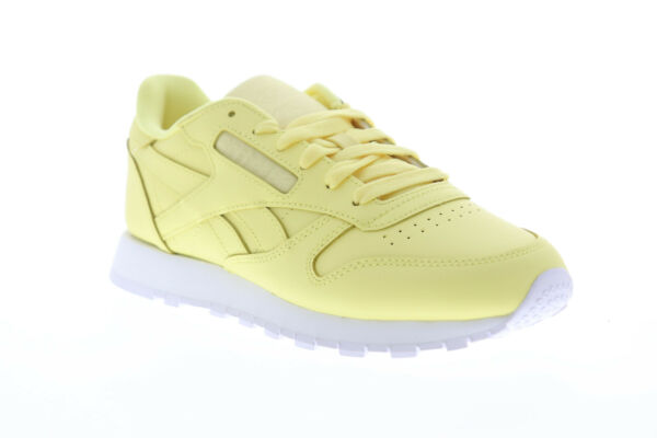 Reebok Classic Leather DV3725 Womens Yellow Lace Up Low Top Sneakers Shoes
