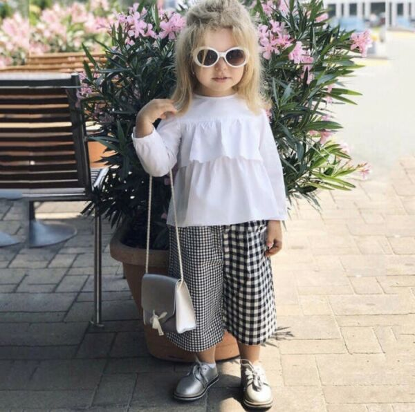 New US Fashion Toddler Girls Tops Plaid Pants Outfit Sets Clothes 3T To 4T 3-4 Y