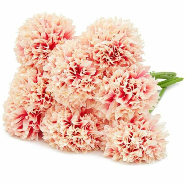 8Pcs Pink Yellow Artificial Hydrangea Fake Flowers for Floral Wedding Decoration $9.99