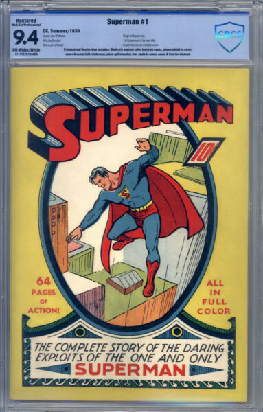 Superman #1 CBCS 9.4 (R) Origin by Siegel & Shuster Superman Pin-Up Back Cover