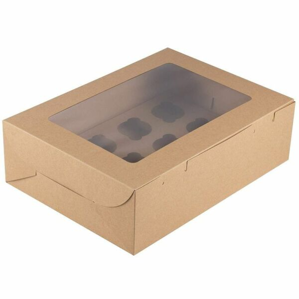12 Pack Kraft Paper Cupcake Boxes Bakery Box with Display Window and Inserts