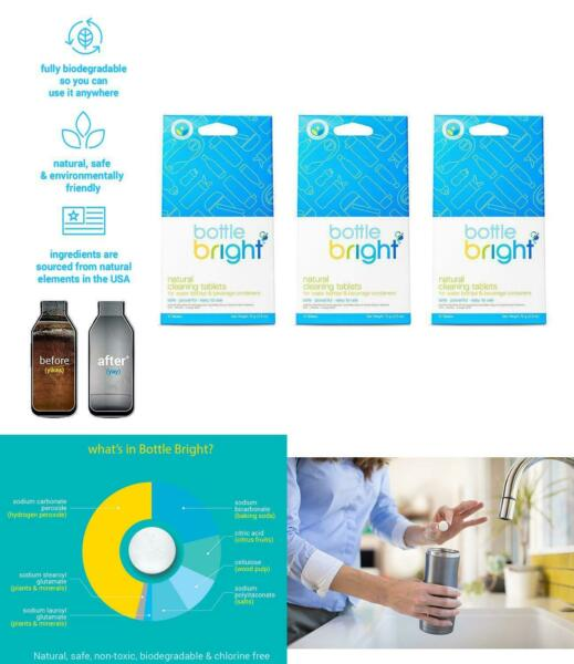 All Natural Cleaning Tablets 3 Pk=36 Tablets Biodegradable Chlorine amp; Odor Free $27.93