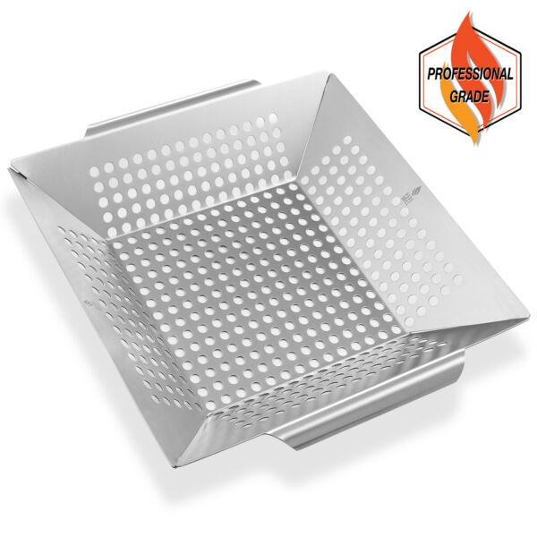 Vegetable Grill Basket Stainless Steel Barbecue Wok Pan Tray for Grilling