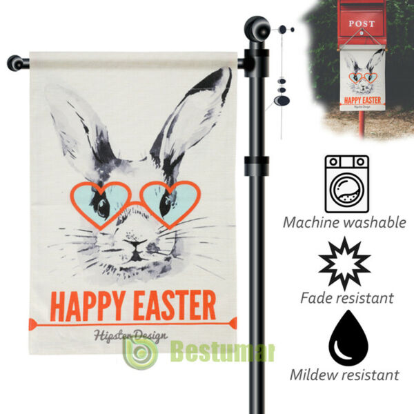 Happy Easter Garden Flag Double Sided 12.5quot;x18quot; Sping Burlap Yard Outdoor Decor