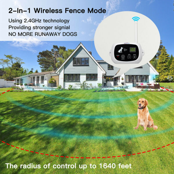 Wireless Dog Fence Pet Containment System Up to 1640 Feet Control Range $99.99