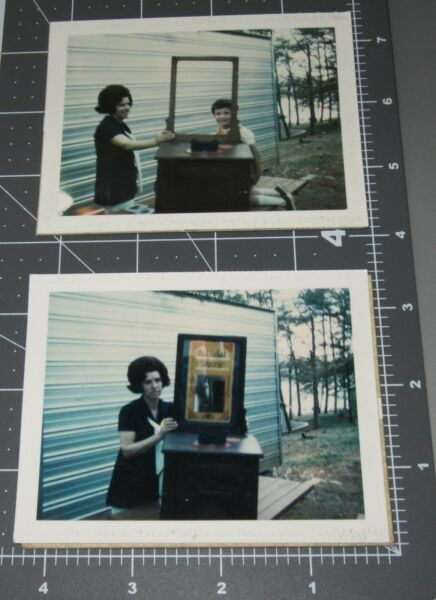 TWO 1960's Woman w Mill's Quartoscope? Coin Op Operated Arcade Vintage PHOTOs