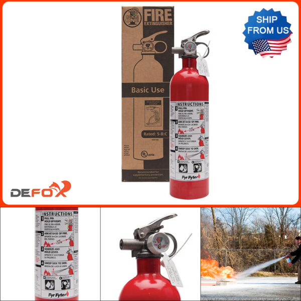 Fire Extinguisher 5 B:C Rated Disposable Dry Chemical Emergency Home Garage Safe