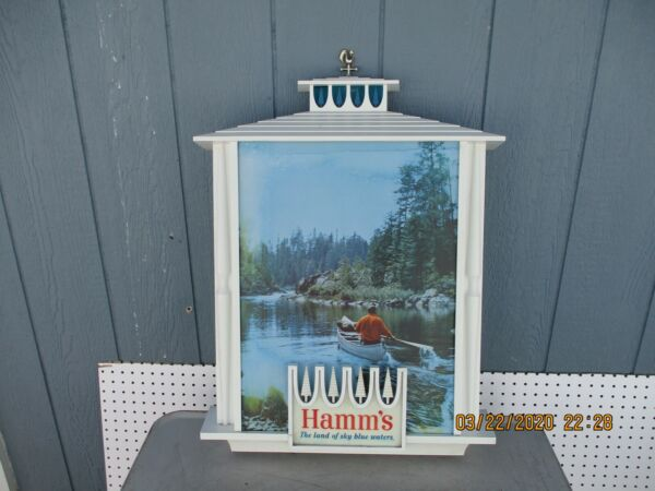 1960s Hamms Beer Land of Blue Sky Waters Light Up Sign Man in Canoe