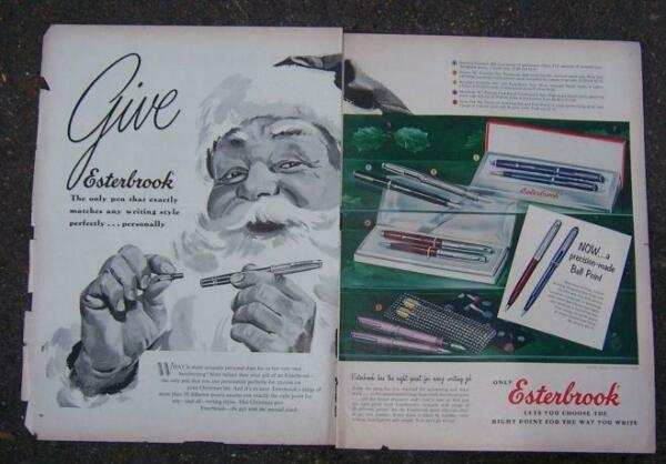 1956 Esterbrook Pen Magazine Christmas Advertisement with Santa Claus