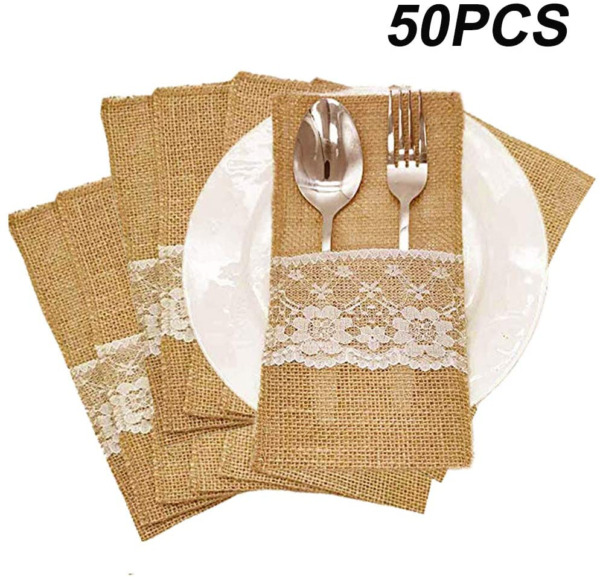 Amajoy 50PCS Natural Burlap Utensil Holders Knifes Forks Bag Cutlery Pouch Party