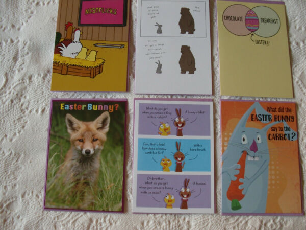 LOT OF 6 EASTER CARDS FUNNY FOR ALL RECYCLED PAPER GREETINGS RETAIL $24 $10.97