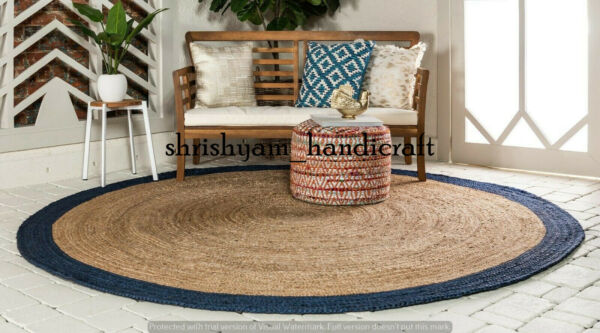 Braided Jute Rug Round Rag Rug Home Decor Floor Rug Hand Woven Natural Jute Rugs