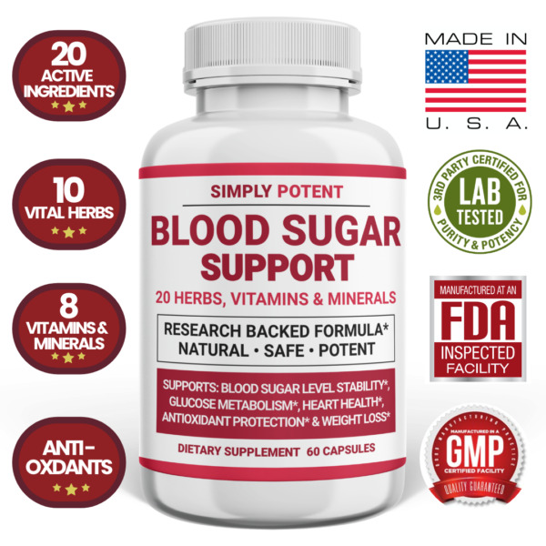 Blood Sugar Supplement for Diabetic Support 600mg 20 Herbs Cinnamon Vitamin CE