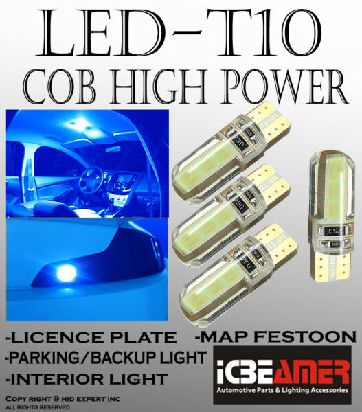 4 pcs Blue T10 T15 COB Silicon Protection LED License Plate Light Bulbs Y246