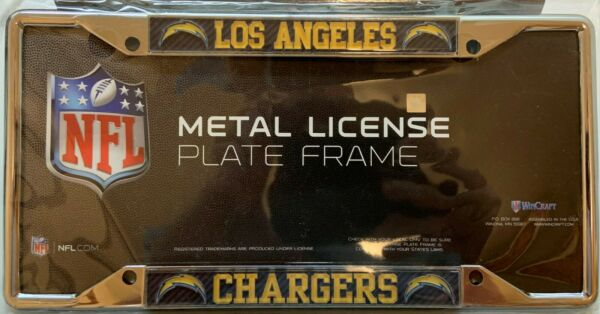 LOS ANGELES CHARGERS CARBON BACKGROUND 6quot;X12quot; METAL LICENSE PLATE FRAME WINCRAFT $20.00
