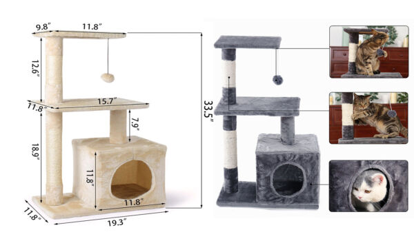 34quot; Large Cat Tree Condo Pet Furniture Activity Tower Play House Grey Beige $35.50