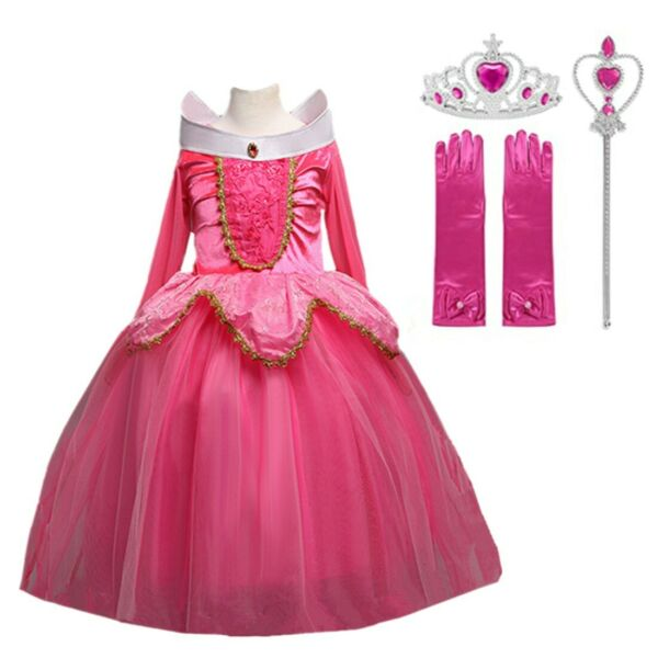 Sleeping Beauty Princess Aurora Costume Party Dress For Girls Pink And Blue Set $22.98