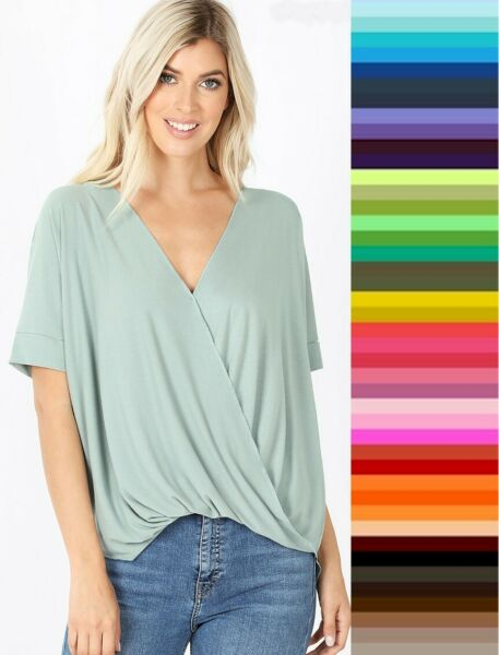Womens Draped Relaxed *Front Tuck* Short Sleeve Zenana Top S XL Plus Size 1X 3X