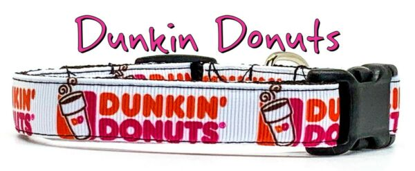 Dunkin Donuts Dog collar handmade adjustable buckle 5 8quot;wide or leash small dog $9.95